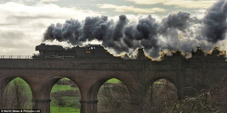The iconic Flying Scotsman, pictured on the Roch Viaduct in Bury, returned to the tracks f...