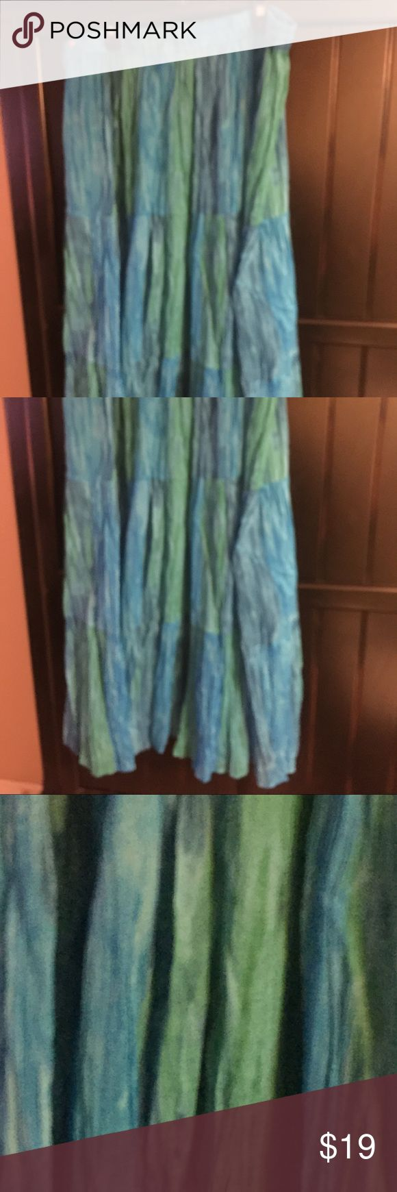 Collections ETC Blue Green Maxi Skirt SZ XL Beautiful skirt mAde of light flowing material. You can see thru this if you really want to do it may be good for over a swimsuit. Pictures don't do justice it is gorgeous. Size XL will fit up to size 20 collections ETC Skirts Maxi
