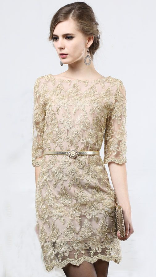 Khaki Half Sleeve Floral Embroidery Belt Dress - Fashion Clothing, Latest Street Fashion At Abaday.com