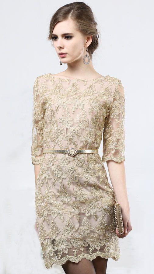 Khaki Half Sleeve Floral Embroidery Belt Dress - Fashion Clothing, Latest Street Fashion At Abaday.com