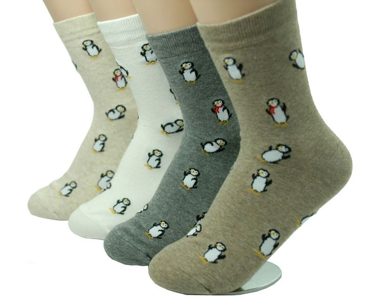 Penguins Character Socks 4 Pair Color Fashion Style Animal Cute Funny Pattern  #GGORANGNAE #Casual#CharacterSocks #women #Kid #Girl #Lady #Funny #Novelty #Pattern