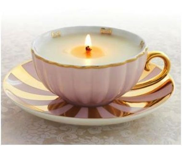 homemade candle in antique teacup...great way to make a home made gift- can even use melted wax from your favorite candles and add a fresh wick.  What a great idea!  I would so put this together for some of my besties.