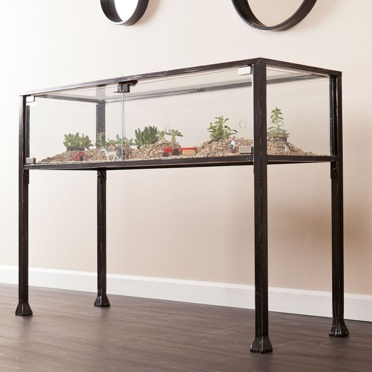 Glass Sofa Table Console Terrarium Black Finish Metal Compartment Display New #HarperBlvd #Transitional #Table #Furniture #Glass #Compartment