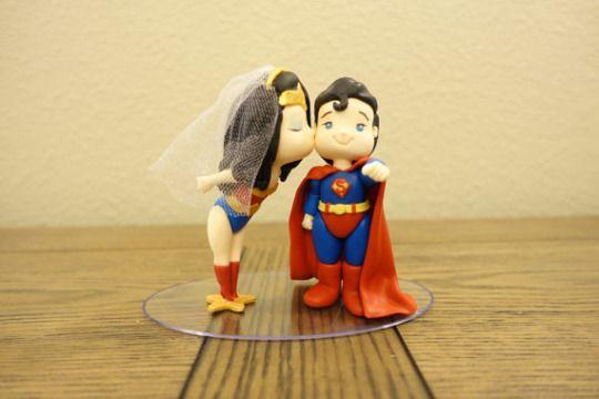 Wonder Woman and Superman Cake Topper. Wedding Cake Topper.   via  PlayCraft