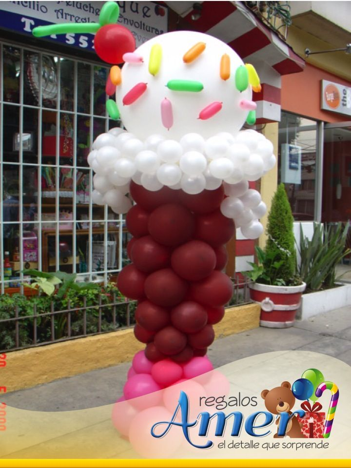 Helado con globos. Altura 1:90 mts, decorando un negocio. Decoraciones Amer, comparte. 5524 6977, México DF