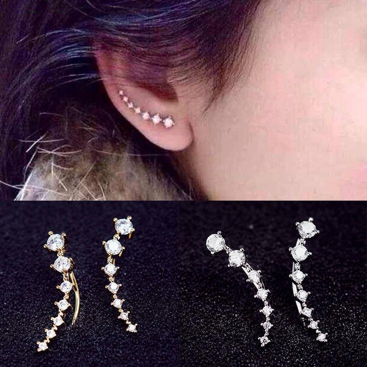 Women Elegant Long Crystal Rhinestone Ear Stud Hook Earrings Jewelry - Gold/Silver/Rose Gold