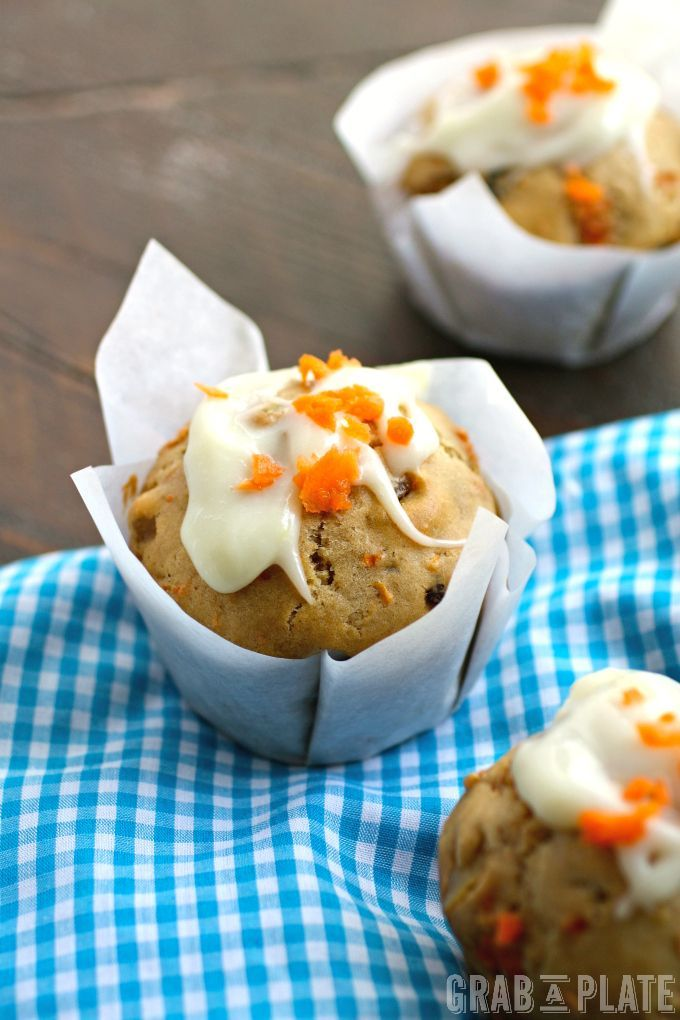 Enjoy a spring treat like Carrot Cake Muffins with Ginger-Cream Cheese Glaze. Delicious, and perfect for the season!: