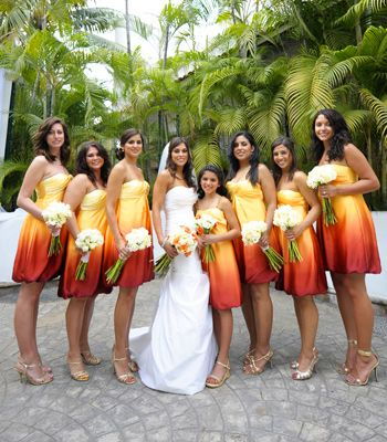 gorgeous yellow-orange-red ombre/gradient bridesmaid dresses