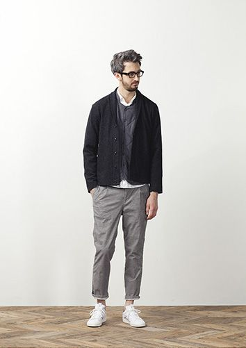 Black Knit Cotton Blazer, Grey Chinos, and White Leather Sneakers, by STILL BY…