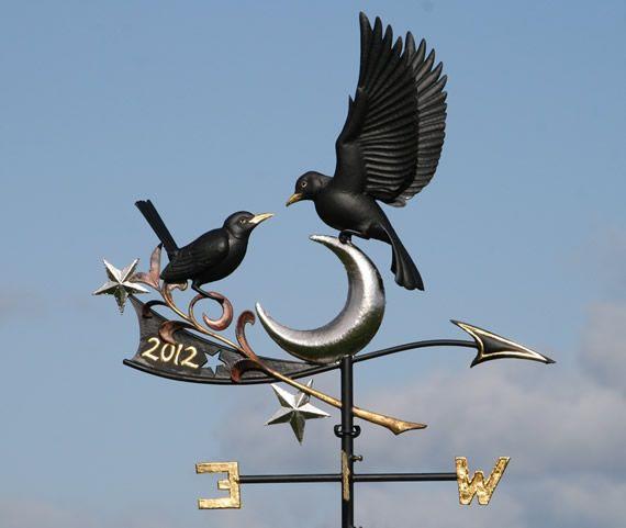 Copper Blackbirds Weathervane