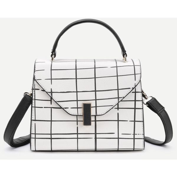 SheIn(sheinside) Plaid Design PU Grap Bag ($27) ❤ liked on Polyvore featuring bags, handbags, shoulder bags, plaid purse, print purse, plaid shoulder bag, tartan purse and white purse
