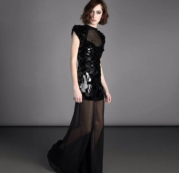 """Two pieces jumpsuit """"Bornheim"""", with tulle mini dress embellished with large sequins and wide georgette trousers✨"""