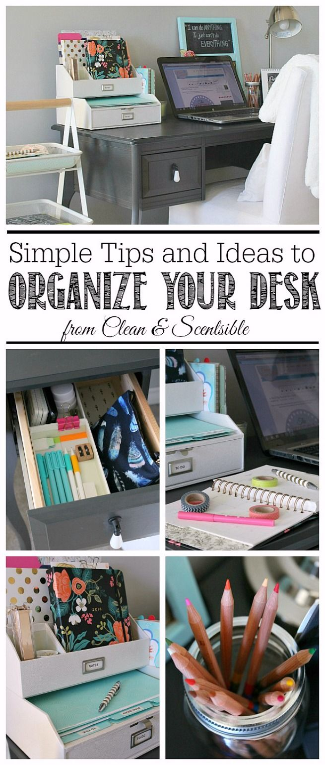 Great tips and ideas to organize a small desk space.