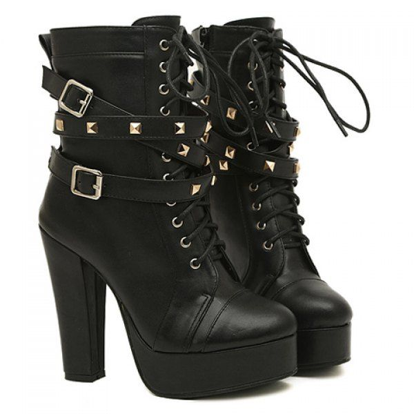 Fashion Buckles and Rivets Design Women's Chunky Heel Short Boots, BLACK, 38 in Boots | DressLily.com