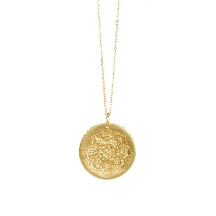 Large sacred lotus pendant on a gold chain chain, all in 24k gold over sterling