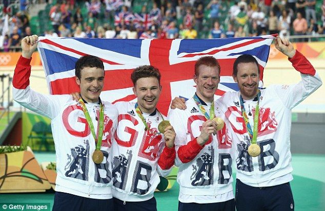 Wiggins, pictured with (L-R)Steven Burke, Owain Doull and Edward Clancy…