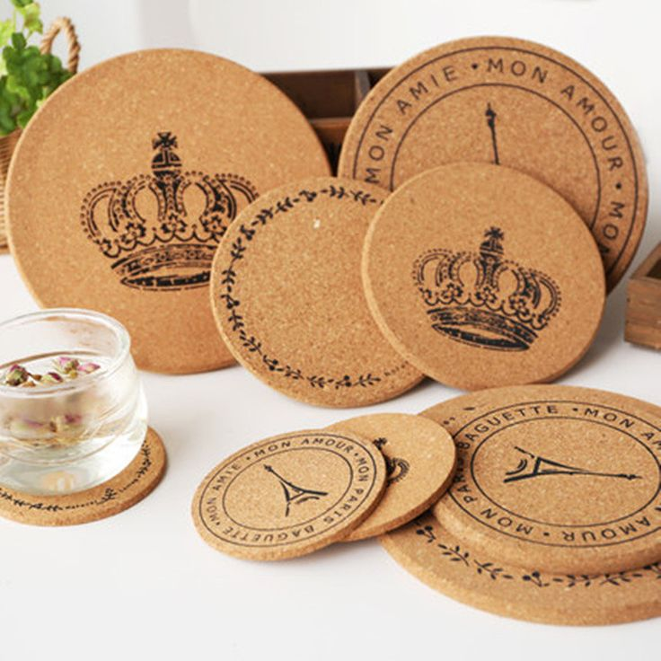 5pcs Cute cartoon insulation pad tea coffee cup mat wood coaster Table – Pitchy Wooden Delights