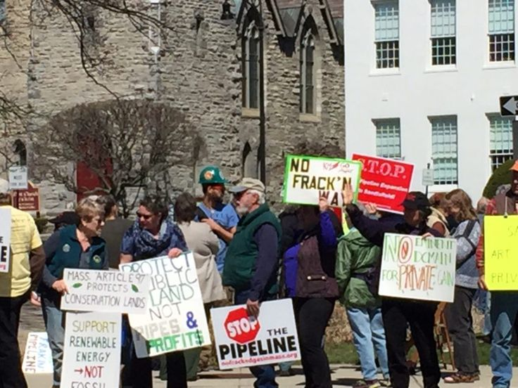 Protestors outside the Berkshire Superior Court in March where Tennessee Gas Pipeline sought permission to begin clearing a path through Otis State Forest. Photo: Heather Bellow
