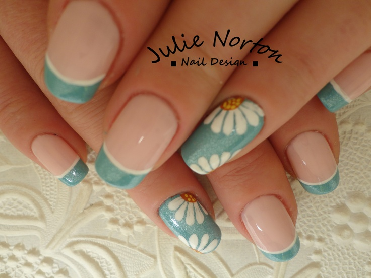 Daisy nail art french manicure nail art design ideas