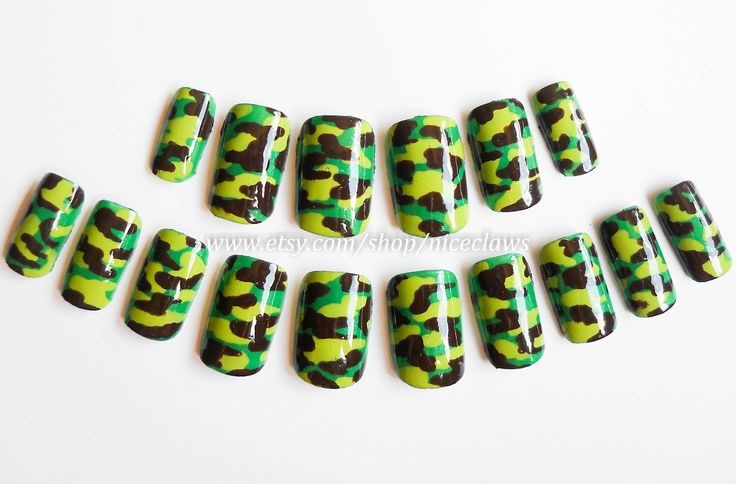 Camouflage Fake Nails, Camo Nails, Camo Nail Art, Camouflage Nail Art, Press on Nails, Artificial Nails, Acrylic Nails, False Nails, Nails by niceclaws on Etsy https://www.etsy.com/listing/102677384/camouflage-fake-nails-camo-nails-camo