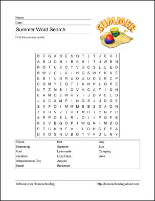 Summer Printables - Summer Wordsearch. Print the Summer Word Search and find the…