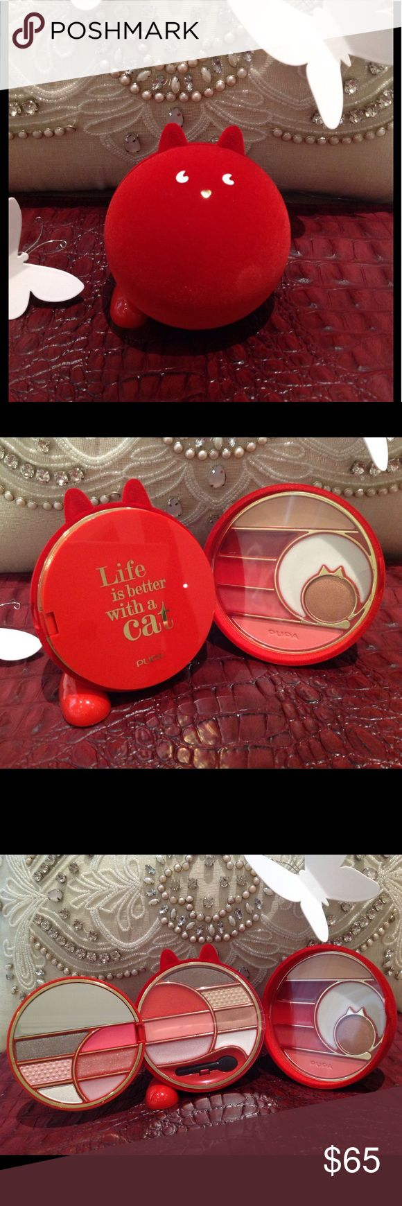"""✨Pupa Red """"Life is Better With a Cat"""" Make Up Kit✨ ✨NIB Cat Lover Pupa Red Velvet """"Life is Better With a Cat"""" Make Up Kit. I want one in every color! This is an Italian make up brand, from the 2016 collection. Velvet outer shell covering, opens up to three sections of assorted colors for lip, cheek, eyes, and one block of concealer. Half moon mirror and one eyeshadow applicator. Must have for any make up lover/collectors. All plastic protective cover still in place. About 3.5"""" tall and 3""""…"""