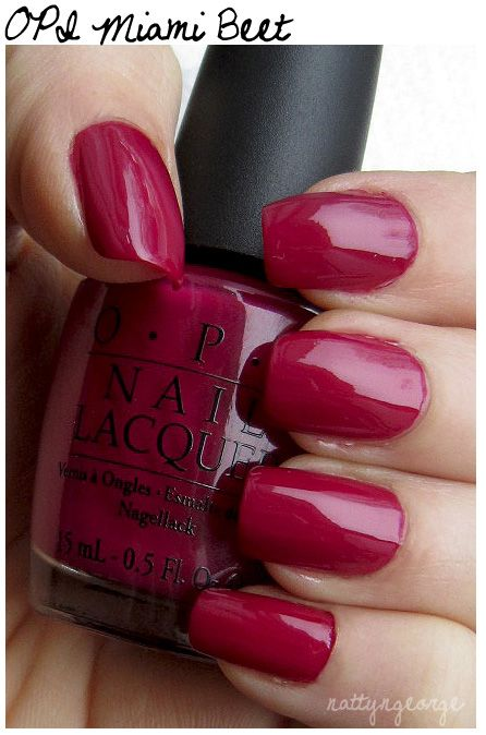 OPI+Gel+Color+Swatches | Two (2) coats of OPI Miami Beet & One (1) coat of Rimmel Lasting ...
