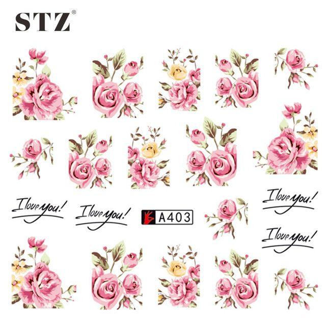 СТЗ 1 Листов 2017 Дизайнер DIY Переноса Воды Ногтей Art Розовый Цветок Наклейки Наклейки Женщины Красоты Свадебные Ногти A403