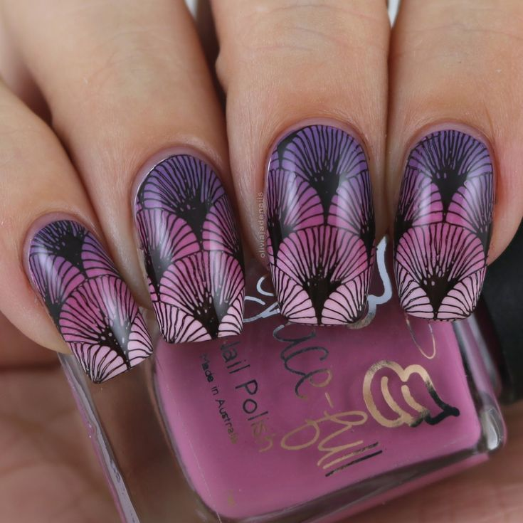 The Digit-al Dozen Does Stamping: Basic Stamping With Gradient Background by Olivia Jade Nails