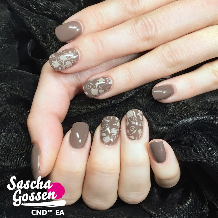 """CND™ SHELLAC™ Rubble with the :YOURS loves SASCHA stamping plate """"Rosa"""". #inspiration #instanails #cnd #color #cndworld #autumn #autumnnails #nails #nailart #nailpro #stamping #stampingplates #stampingnailart #naildesign #cndshellac #shellac #cndgowithapro #rubble #yourscosmetics #yourslovessascha #saschagossen #nailstagram #nails2inspire #creative @yourscosmetics @cndworld"""