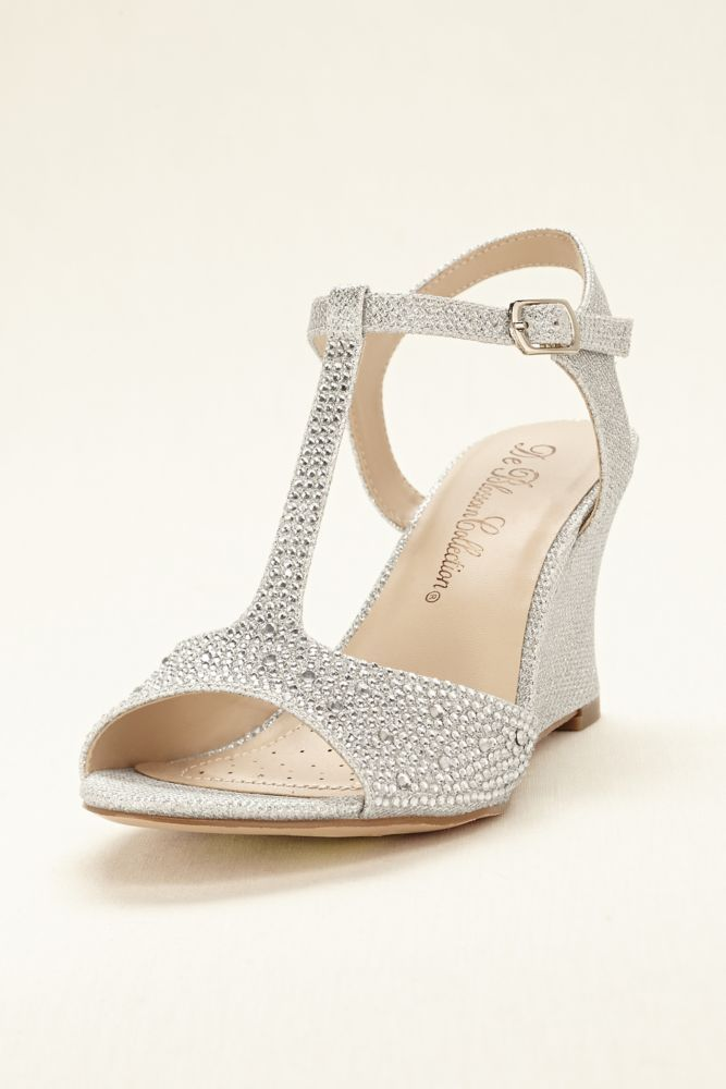 Glitter T-Strap Wedge Wedding & Bridesmaid Sandal - Silver, 6.5 Women's