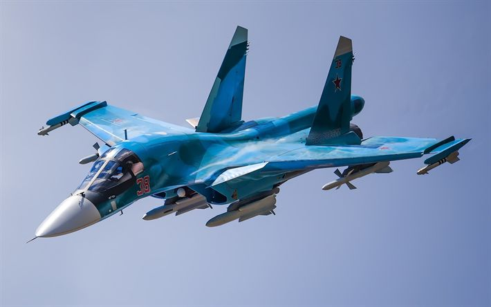 Download wallpapers Sukhoi Su-34, fighter-bomber, strike aircraft, Russian military aircraft, Russian Air Force, 4k