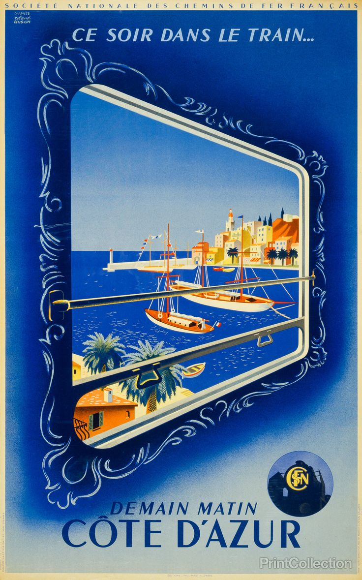 Originally printed as a colored lithograph in 1947, this reproduction Travel to Côte d'Azur Print was designed by artist Roland Hugen for the Société Nationale des Chemins de Fer Français. With nouveau baroque flair and an appropriately azure background the image depicts the view through a train window to sailboats on the French Riviera.