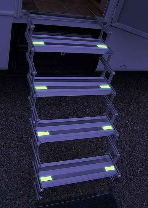 Add glow-in-the-dark tape to your stairs at night. | 37 RV Hacks That Will Make You A Happy Camper, safety first