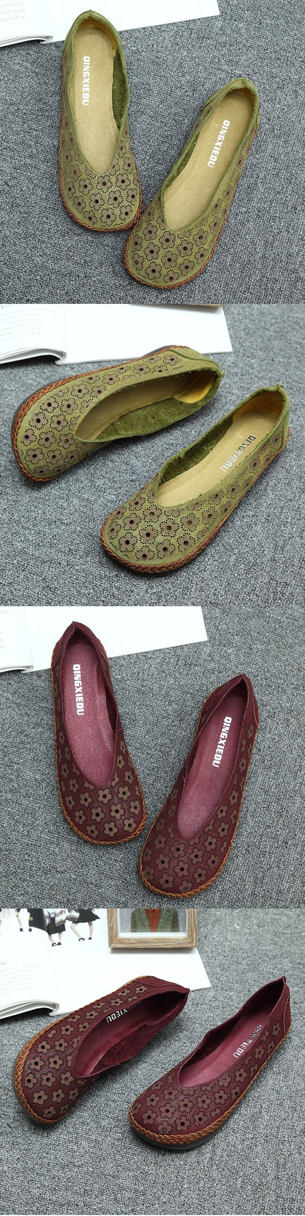SOCOFY Floral Hollow Out Breathable Flat Loafers