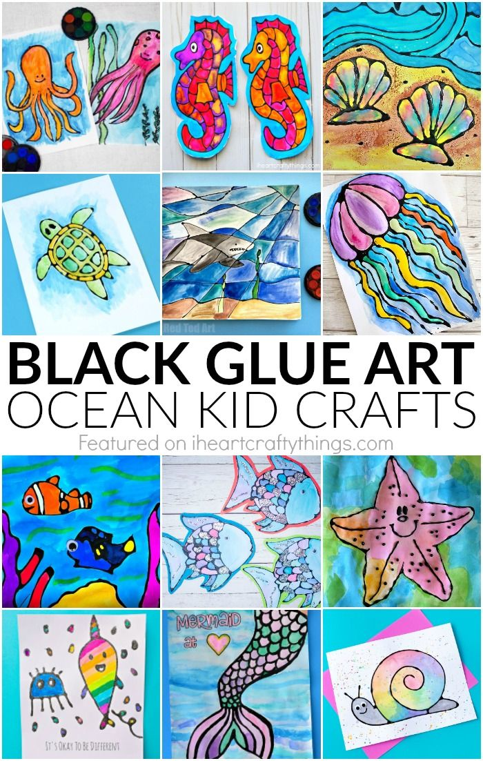 Here's some great ocean crafts that you can make for your sponsor child! // World Help    child sponsorship, rainy day fun, rainy day craft, black glue art
