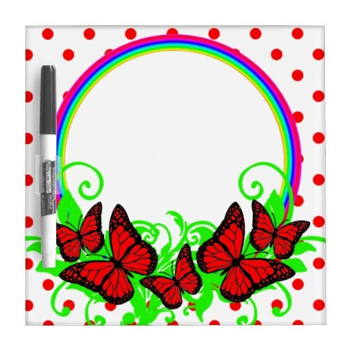 Red Black White Butterflies Rainbows And Dots Dry Erase Board - This design features red and black butterflies sitting on a rainbow frame and leaves. The background has red dots on a white background. Decorate your daughters room and give her a beautiful place to learn to write or just to draw her pictures! This would also make a gorgeous birthday present for her, personalize it by adding her name!