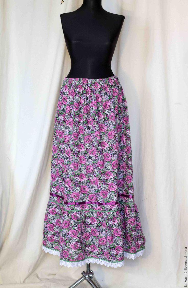 Купить Юбка ситцевая Тавифа - фуксия, пейсли, юбка, длинная юбка, черно-белое