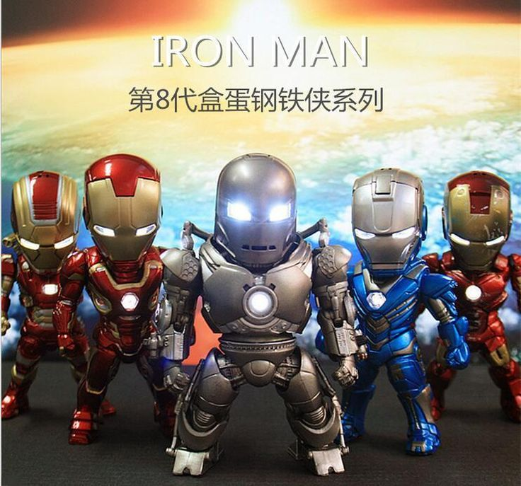5pcs/set EGG ATTACK IRON MAN ACTION FIGURE With LED LIGHT Car Decoration #Unbranded