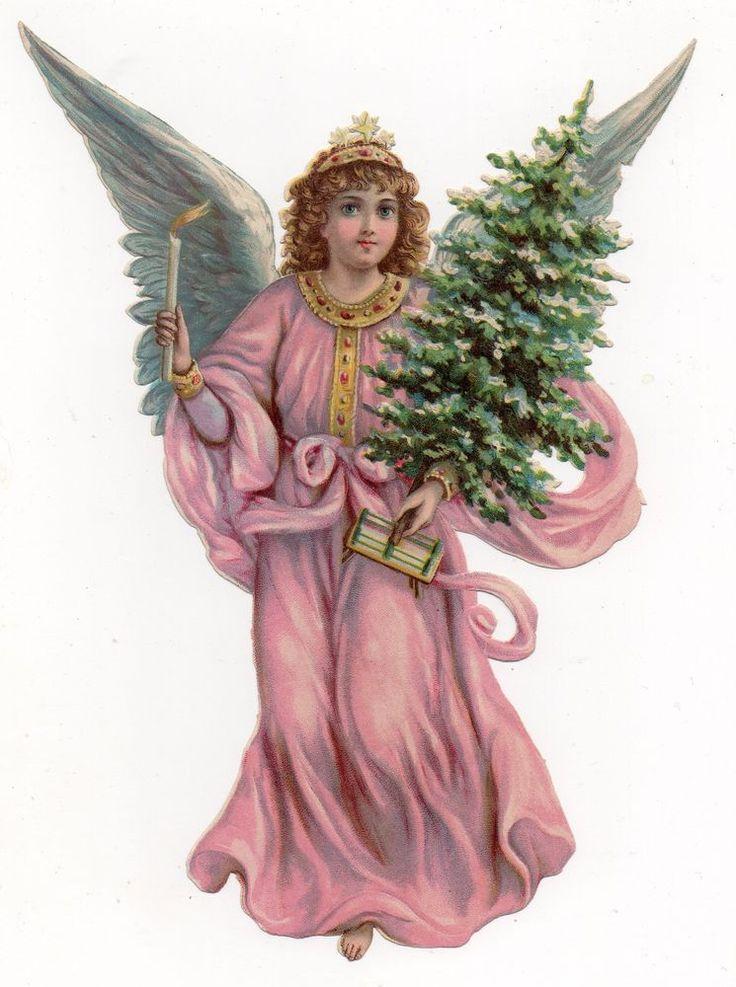 Chromo découpi oblaten glanzbild victorian die cut scrap Ange angel engel 23cm