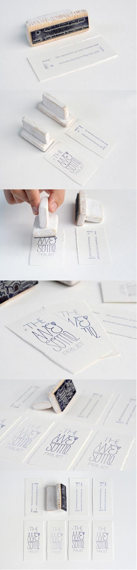 Creative business cards - handmade cards with hand-stamped ink leave an original impression. Designed by The Awesome Project.
