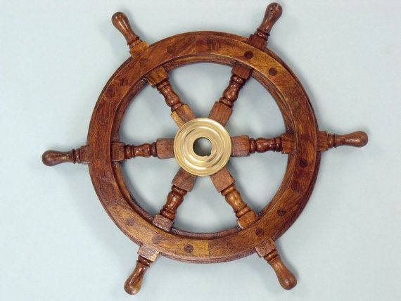 "Wood and Brass Ship Wheels 12"" The Ships Wheel / boat steering wheel for a boat / Nautical Wall Decor / Beach Home Decoration"