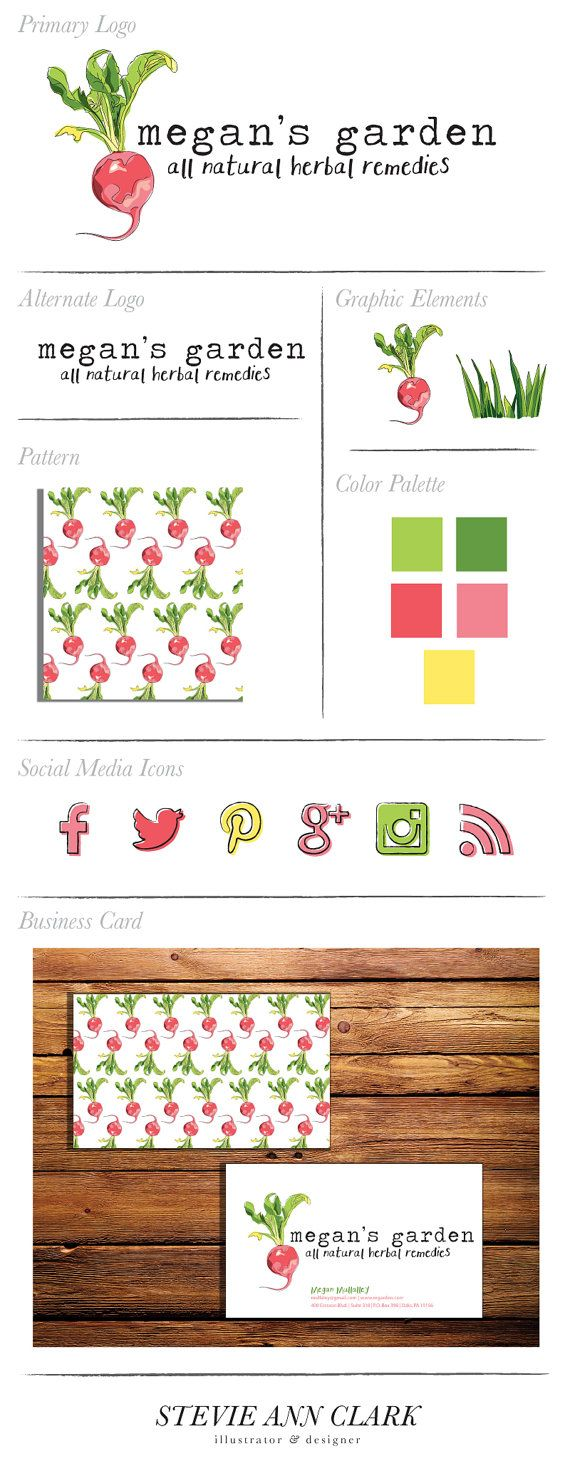 Hand Drawn Branding Package with Logo, Alternative Logo, Social Media Icons, Business Card, Graphic Elements and Pattern, and Color Palette. Radish illustration, conceptually for a food blog or organic small business start up! www.etsy.com/listing/199231601/hand-drawn-branding-package-business?ref=shop_home_feat_1