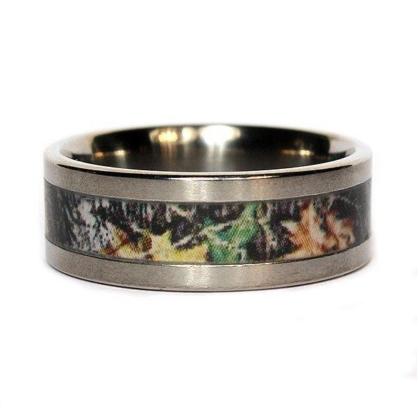 camouflage wedding rings mossy oak new break up camo 8mm titanium mens band