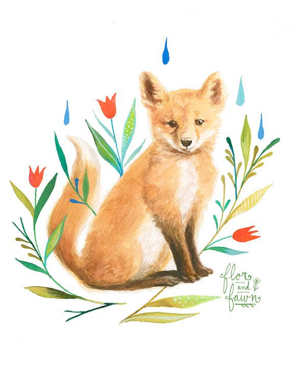 Fox by Flor & Fawn on Etsy, A collaborative project between dear friends, Karen Eland and Katie Daisy