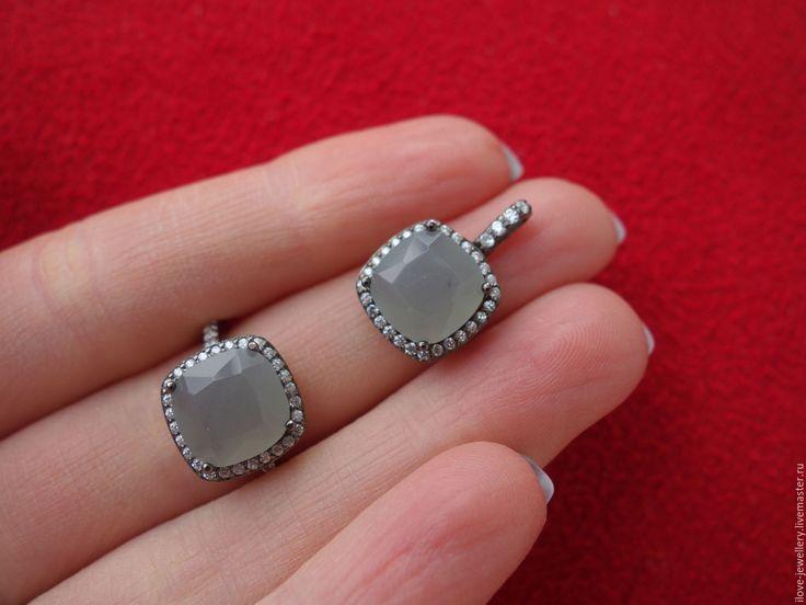 """Купить """"Fausto""""-модный серебряный комплект с серым лунным камнем - серый, лунный камень серый"""