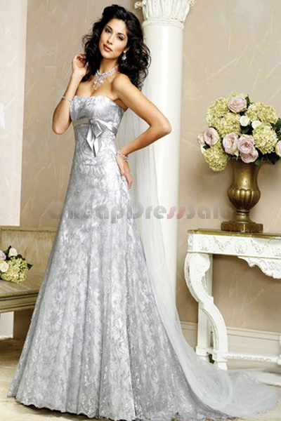 elegant silver empire waist lace wedding dress