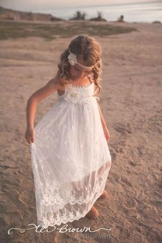 Flower Girl Dress Long Vintage Lace Dance Party Dress birthday Off-white in Clothing, Shoes, Accessories, Girl's Clothing, Dresses | eBay!