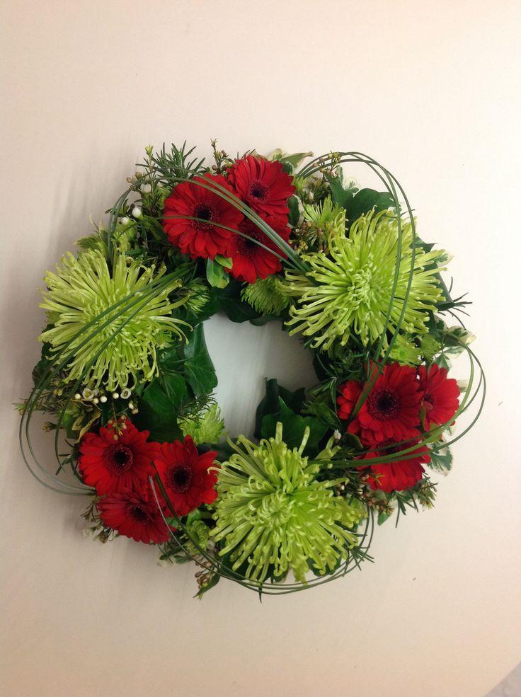 Funeral wreath. Green Mist Chrysanthemum & Binq mini Gerberas.