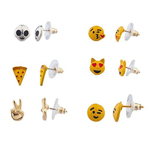 Kitschy Emoji Multi Earring Set (6PC) Luxurious & Affordable! Set includes silvertone alien, pizza, goldtone peace sign, kissy face, cat hear eyes and wink face emojis Enamel nolvelty assorted multi earring set Measures : STUDS Designed by Lux Accessories, a world leader in fashion jewelry